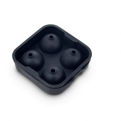 Ice Ball Mould - Large Silicone Spheres - 4 Section Black - Top View