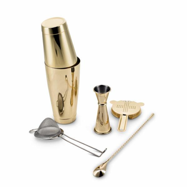 Gold Plated Shaken Cocktail Barware Set Canada