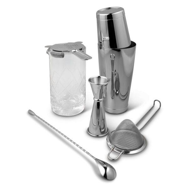Shaken & Stirred Cocktail Set - Stainless Steel w Etched Mixing Glass Bartools Canada