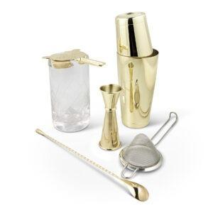 Shaken & Stirred Cocktail Set - Gold w Etched Mixing Glass Canada